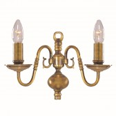 Flemish Wall Light - Dual Light- Solid Brass
