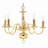 Flemish Ceiling Light - 5 Light Solid Brass