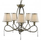 Simplicity Ceiling Light - 5 Light, Antique Brass, Complete with Shades