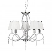 Simplicity 5 Light Ceiling Light with Fabric Shades - Chrome