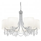 Nina 8 Light Ceiling Light - Chrome, with Fabric Shades
