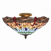 Dragonfly Tiffany Ceiling Light - flush