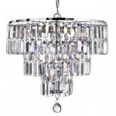 Empire Chrome Ceiling Light - 5 Light, Crystal Glass