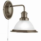 Bistro 1 Light Industrial Wall Bracket, Antique Brass, Marble Glass Shade, Antique Brass Trim