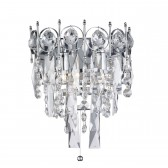 Catherine 2 Light Crystal Wall Bracket, Chrome, Clear Crystal Ball Trim & Square Drops