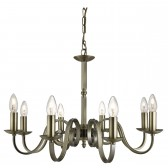 Richmond 8 Light Ceiling Pendant Scroll Arms Detail, Antique Brass