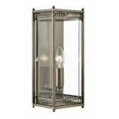 Clear Glass Panel Wall Lantern - Antique Brass