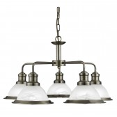 Bistro 5 Light Industrial Ceiling, Antique Brass, Marble Glass Shade, Antique Brass Trim