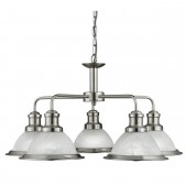 Bistro 5 Light Industrial Ceiling, Satin Silver, Marble Glass Shade, Satin Silver Trim