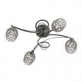 Alaska Semi Flush Ceiling Light - 4 Light, Mirror Black
