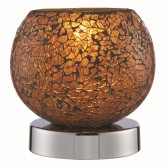 Crackle Touch Lamp - Orange Mosaic Glass, Polished Chrome