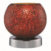 Crackle Touch Lamp - Red Mosaic Glass, Polished Chrome