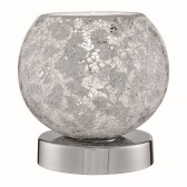 Crackle Touch Lamp - White Mosaic Glass, Polished Chrome