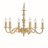 Seville Ceiling Light - 6 Arm Solid Brass