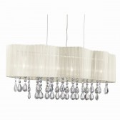 Pleated 6 Light Ceiling, Clear Crystal Drops, Cream Voile Shade