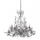 Almandite - 12 Light Ceiling, Silver/Black Finish, Leaf Dressing, Clear Crystal Deco