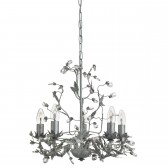 Almandite - 5 Light Ceiling, Silver/Black Finish, Leaf Dressing, Clear Crystal Deco