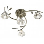 Sierra Semi Flush Ceiling Light - 4 Light, Antique Brass