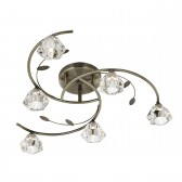 Sierra Semi Flush Ceiling Light - 6 Light, Antique Brass