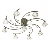 Sierra Semi Flush Ceiling Light - 9 Light, Antique Brass