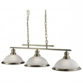 Bistro 3 Light Industrial Ceiling Bar, Antique Brass, Marble Glass Shade, Antique Brass Trim