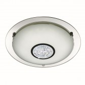 Decorative Large LED Flush Ceiling Light - Chrome with Glass Detail