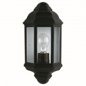 IP33 Outdoor/Porch Light - Black & Glass