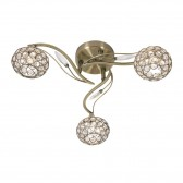 Esmee 3 Light Semi Flush Ceiling Light - Antique Brass
