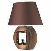 Window - Bronze Stripe Effect Oval Table Lamp/Faux Silk Tapered Shade