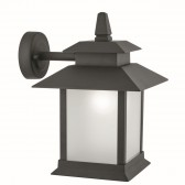 Lantern 1 Light Outdoor Wall Lantern, Black, Frosted Glass