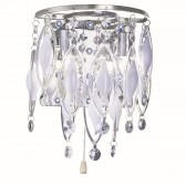 Spindle - Led & 2 Light Wall Bracket, Chrome, Clear/White Glass Deco