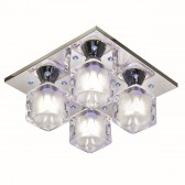 Sculptured LED Cube Glass Ceiling Plate - 4 Light, Chrome
