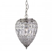 Pendant 1 Light Satin Silver, Clear Glass Buttons/Coffin Drop Trim