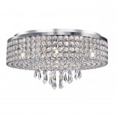 Orion Crystal Glass Flush Ceiling Light - 9 Light, Chrome