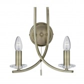 Ascona Double Wall Light (Switched) - Antique Brass