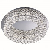 Vesta Led Ceiling Flush, Chrome, Clear Crystal Buttoms