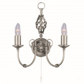 Zanzibar Wall Light - satin silver 2 light