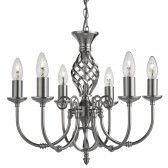 Zanzibar Ceiling Light - satin silver 6 light