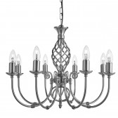 Zanzibar Ceiling Light - satin silver 8 light