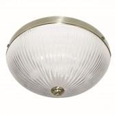 Windsor Ii Flush 2 Light Antique Brass Ribbed Glass
