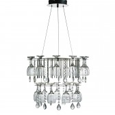 Vino - Led 2 Tier Decorative Ceiling, Chrome, Crystal Button/Pear Drops & Wine Glass Trim