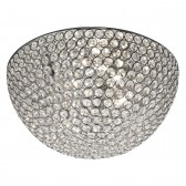 Chantilly Crystal Glass Flush Ceiling Light - 3 Light, Chrom 35