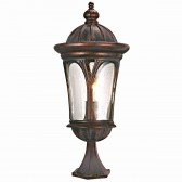 Canada 1 Light Outdoor Small Post, Brown, Clear Glass