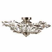 Lima Flush Ant Brass & Crystal Ceiling Light