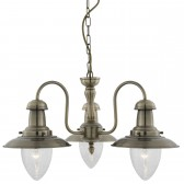 Fisherman Lantern Ceiling Light - antique 3 light