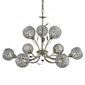 Bellis 2 9 Light Ceiling Light - Antique Brass, Acrylic Beads