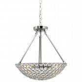 Chantilly Crystal Glass Pendant Light - 4 Light, Chrome
