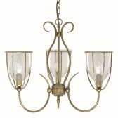 Silhouette 3 Light Antique Brass Fitting Complete With Glass