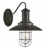 Fisherman Caged Wall Light, Black Gold, Seeded Glass