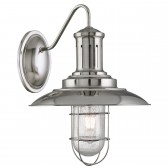 Fisherman Caged Wall Light, Satin Silver, Seeded Glass